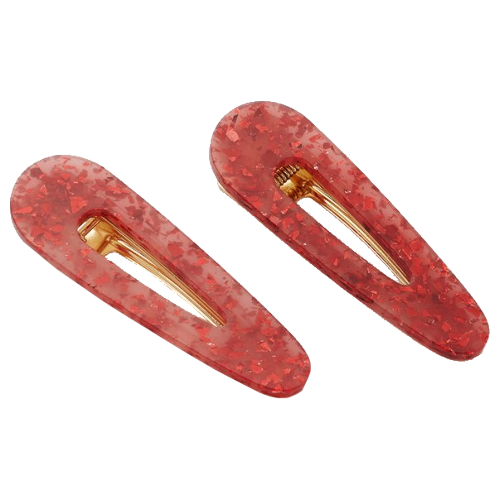 Valet Kelly Clip Duo- Red Glitter