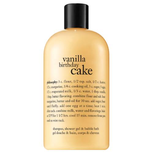 philosophy vanilla birthday cake shampoo,  shower gel & bubble bath by philosophy