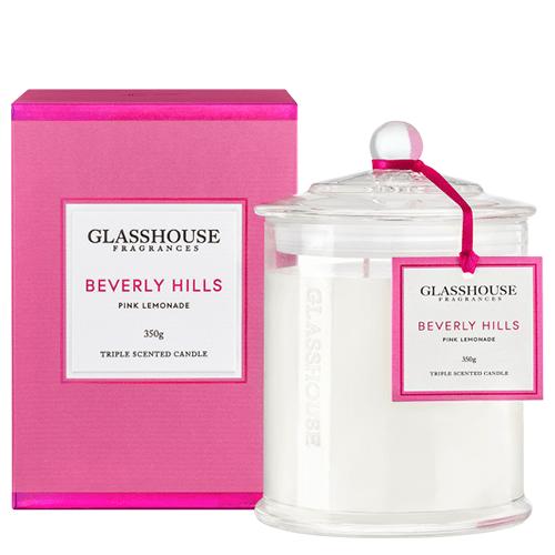 Glasshouse Beverly Hills Candle - Pink Lemonade 350g by Glasshouse Fragrances
