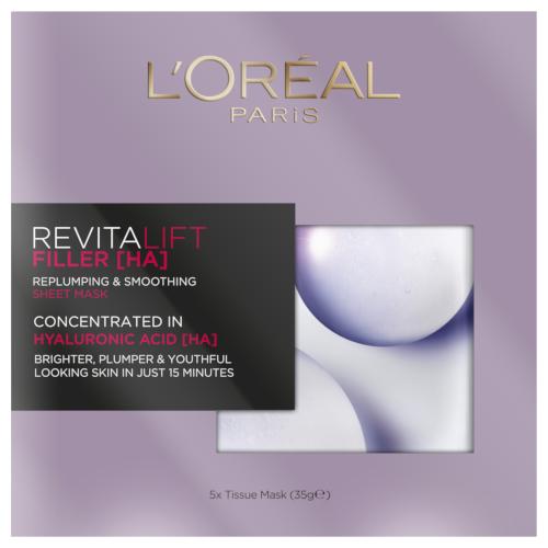 L'Oréal Paris Revitalift Filler [HA] Replumping & Smoothing Sheet Mask Multi-pack 5x35g by L'Oreal Paris
